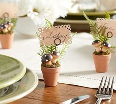 Mushroom Place Card Holder:  These are from Pottery Barn but they might be fun to attempt to duplicate.