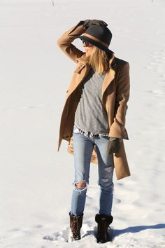 Jacey Duprie wearing a grey baseball sweater from Madewell, camel coat from Zara, boots from Ugg, hat from Janessa Leone and the jeans from are Joe's Jeans
