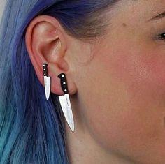 knife earrings grunge earrings goth earrings