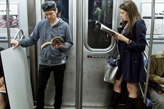 """on the left he's reading """"Trainspotting,"""" by Irvine Welsh. on the right she's reading """"What I Talk About When I Talk About Running,"""" by Haru..."""