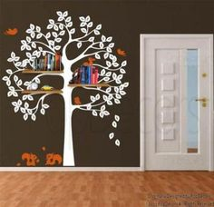 Authentic Only from PopDecors Shelving Tree Decal with Squirrels - removable vin on eBay! $95