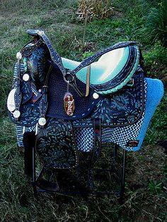 "15"" Western Barrel Show Pleasure All LEATHER HORSE SADDLE Bridle Turquoise 5359"