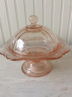Vintage Pink Depression Glass Pedestal Dish, Candy Dish, Madrid Pattern, Federal Glass, Cottage, Shabby Chic, French Country, Farmhouse
