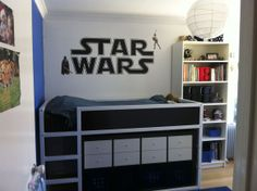 Awesome Star Wars room with an Ikea Kura bed.
