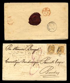 "Hongkong 1863-74 single correspondence consisting of eight covers to Bombay, each franked with 8c Victoria and tied by ""B62"" duplex, variety of ship ..."