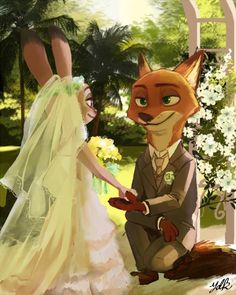 Nick and Judy at their wedding Nick Wilde, Arte Disney, Disney Fan Art, Disney Love, Disney Couples, Zootopia Fanart, Zootopia Comic, Disney And Dreamworks, Disney Pixar