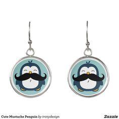 Cute Mustache Penguin Earrings