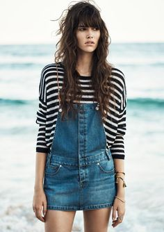 Stripes and denim at the beach.   sassique-official.tumblr.com