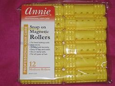 """Annie Snap On Magnetic Hair Rollers Yellow (12 -Count Pack) 3/4"""" Medium Rollers."""