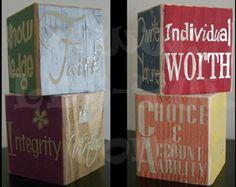 Vinyl blocks YW Values-other fun activity ideas as well