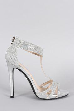 d06df3a0da70 Anne Michelle Glitter Rhinestone T-Strap Stiletto Heel Gladiator Heels
