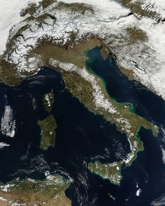 NASA captured this image of Italy today looking like a snow-covered boot (via NASA's Flickr)