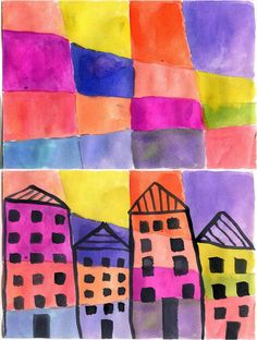 Schulten Inspired Painting. Make the background first, then design buildings on top. #artprojectsforkids #painting