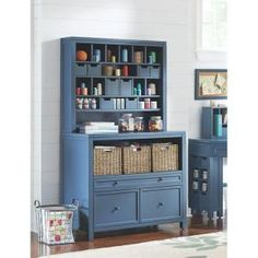 Martha Stewart Living, Craft Space 18 Cubbie Wood Apothecary Hutch In  Mariner, 1607500310