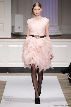Oscar de la Renta Pre-Fall 2012 Blush silk organza cascade dress 7N606 $3490
