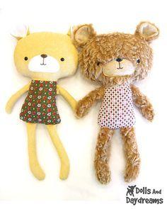 "Teddy Bear Softie PDF Sewing Pattern ""Doll style 1 - bear"""