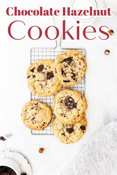 Chocolate Hazelnut Cookies - A delicious cookie loaded with chopped hazelnuts and dark chocolate chunks. So easy to make and tasty! Chocolate Cookies | Hazelnut Cookies | Cookie Recipes | Chocolate Hazelnut Cookie Recipe #cookies