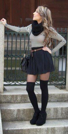 Black wedge booties with black thigh high socks