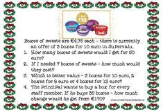 Christmas Maths Tasks for and Class – Irish Primary Teacher Christmas Maths, Christmas Themes, Boxes Of Sweets, 6 Class, Maths Resources, Problem Solving Skills, Task Cards, Irish, Teacher