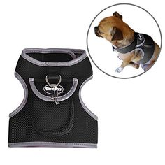 BINGPET Soft Mesh Dog Backpack Harness Pet Puppy Padded Vest No Pull Harnesses with Pocket Black Medium >>> To view further for this article, visit the image link. #DogHarnesses