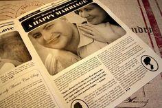 Cute Bridal Newspaper Keepsake - Inside their newspaper, pearls of wisdom are preserved for all to read ♥♥ #Wedding #Favor #Newspaper #Keepsake
