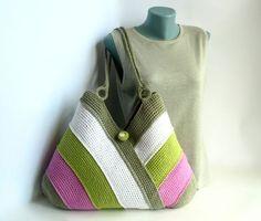 Bolso colorido del verano, bolso de la playa, bolso, bolso de ganchillo de la mano, bolsa de algodón, blanco, hierba verde, violeta, gris bolsas