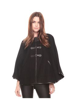 You know it will be super inexpensive 'cause it is from Forever 21. Wool Blend Cape with leatherette piping,