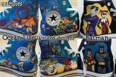 Items similar to Custom Hand-Painted Converse High-Top Shoes -- Painted to Your Specifications on Etsy Painted Converse, Painted Shoes, Custom Vans, Custom Sneakers, Nerd Shoes, Geek Clothing, Shoe Designs, Converse High, Top Shoes