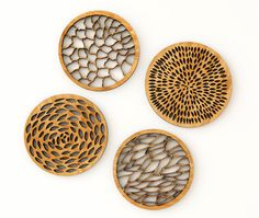 Abstract Bamboo Laser-Cut Coasters (Set of 4)