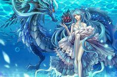 Girl Dragon, Blue Dragon, Fantasy Dragon, Anime Fantasy, Fantasy Kunst, Fantasy Art, Fairytail, Images Wallpaper, Wallpaper Backgrounds