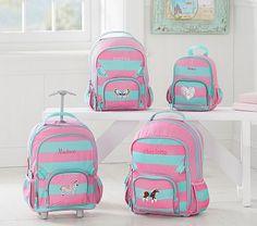 Fairfax Pink/Aqua Stripe Backpack #pbkids