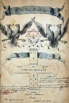 """F de La Rose-croix"", or the Early Rosicrucian Manuscripts Occult Symbols, Masonic Symbols, Occult Art, Occult Books, Alchemy, Illustration Rose, Rose Croix, Masonic Art, Esoteric Art"