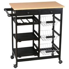 This Merax modern kitchen island cart features ample storage for all of your cooking needs with shelves, drawers, baskets and a towel rack. Constructed with high quality MDF, pine tops and metal frame, it is of great strength and stability. Wheels on the bottom are flexible and very convenient for you to move it to another room. 2 of wheels are lockable. With them, the cart can be stopped at any place you want.