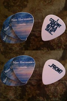 "How is this for cute!  ""I couldn't pick a better date... prom? Asking my boyfriend to prom with these custom guitar picks. Here's where I got them: http://www.etsy.com/listing/176329032/4-custom-guitar-picks. Inexpensive and quality! He is a guitar player and he will love these. Nine harmonies is his producer name. Prom invite. Cute promposal."""