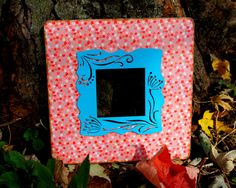 Floral picture frame , red and blue frame , cottage chic frame
