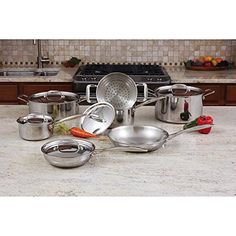 Maxam 12pc 3-Ply Clad T304 Stainless Steel Cookware Set -- Startling review available here  : Cookware Sets