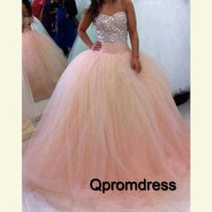 Long prom dress, ball gown, sparkly pink tulle long poofy evening dress for teens