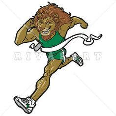 Mascot Clipart Image of a Track Lion Running Graphic