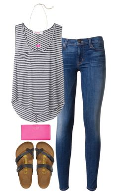 stripes & pink by tabooty on Polyvore featuring Organic by John Patrick, Hudson, Birkenstock, Kate Spade, Kendra Scott, women's clothing, women's fashion, women, female and woman