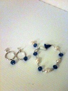 Royal Blue Bracelet Pearl Jewelry Bracelet Earring Combo by cdjali, $21.00
