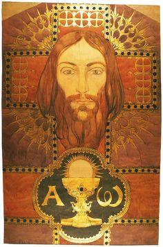 """Glowa Chrystusa""""Jesus Christ""Józef Mehoffer.1901. Watercolor & gold."