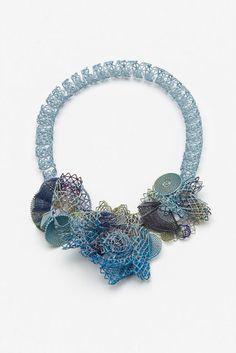 """Robert Baines """"Hey True Blue"""" neckpiece, 2014 Silver, powdercoat, paint, electroplate 7 1/5 × 11 × 2 in"""