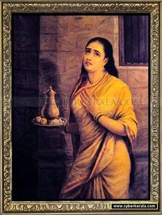 Sairandhri - Draupadi in disguise - carrying milk to Keechaka. Oil painting on canvas by Raja Ravi Varma dated 1897 - Maharaja Fateh Singh Museum, Lakshmi Vilas Palace, Vadodara (Baroda), Gujarat.