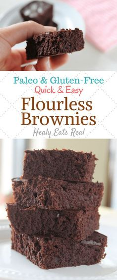 Amazing Healthy Flourless Brownies (Keto, Paleo, Gluten Free)- These healthy flourless brownies are soft, cakey (or fudgy!) and deliver a rich dark chocolate flavor that will satisfy your sweet tooth without any unhealthy ingredients. Plus, they are so easy that you can whip them up in less than 30 minutes! #brownies #paleo #flourless via @healyeatsreal Low Carb Dessert, Healthy Dessert Recipes, Gluten Free Desserts, Paleo Recipes, Healthy Breakfasts, Easy Desserts, Flourless Dessert Recipes, Free Recipes, Jello Desserts
