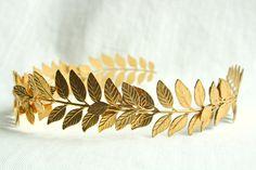 ATHENA Grecian Leaf Headpiece in 24K Gold Plate. $90.00, via Etsy.