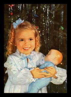 "VINTAGE 1959 ""LITTLE MOM AND HER NEW BABY DOLL"" CHRISTMAS PHOTO PRINT"