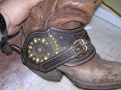 Heavy duty spur straps by Madri Custom Made Leather Works Boot Bling, Cowgirl Bling, Cowgirl Boots, Cowboy Spurs, Cowboy Gear, Cowboy Western, Spur Straps, Boot Bracelet, Boot Jewelry