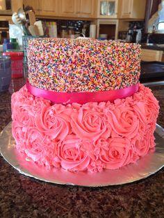 Sprinkle and rosette cake