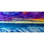 """Stormy Sunset"" Teri Jones - Artist Alcohol Inks on Whiteboard 18"" X 16""  $300.00 - See more at: http://gallerystthomas.com/art-medium/watercolors/stormy-sunset.html#sthash.jykBH3gG.dpuf"