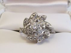Vintage Diamond Cluster Ring Crafted in 14K White by Ringtique, $325.00